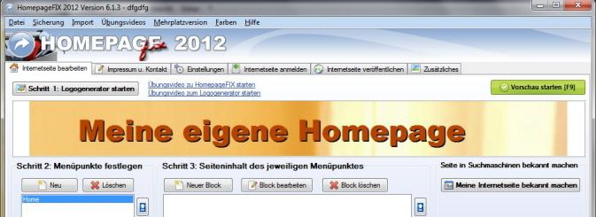 Fußzeile Internetseite